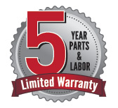 5 Year Parts and Labor Limited Warranty